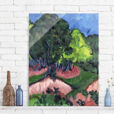 Glasbild - Kunstdruck Ernst Ludwig Kirchner - Landschaft mit Kastanienbaum - Hoch 3:4