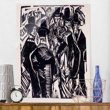 Glasbild - Kunstdruck Ernst Ludwig Kirchner - Straßenszene - Hoch 3:4