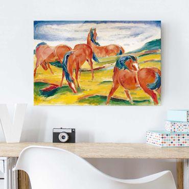 Glasbild - Kunstdruck Franz Marc - Weidende Pferde III - Expressionismus Quer 3:2