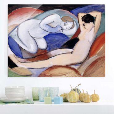 Glasbild - Kunstdruck Franz Marc - Zwei liegende Akte - Expressionismus Quer 4:3