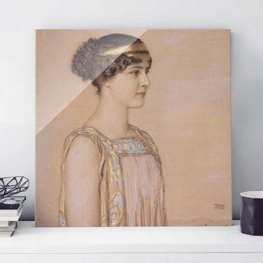 Glasbild - Kunstdruck Franz von Stuck - Portrait von Mary in einem griechischen Kostüm - Quadrat 1:1