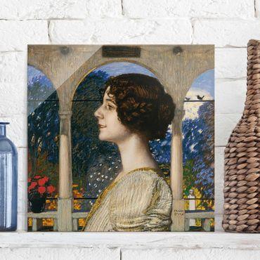 Glasbild - Kunstdruck Franz von Stuck - Weibliches Portrait, in der Säulenhalle - Quadrat 1:1