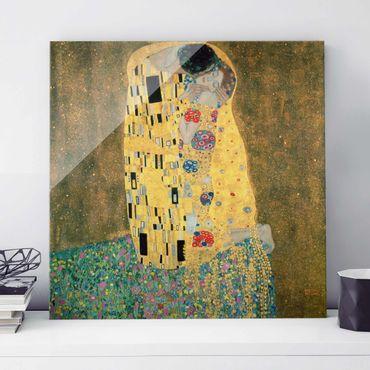 Glasbild - Kunstdruck Gustav Klimt - Der Kuß - Jugendstil Quadrat 1:1