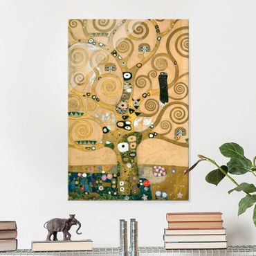 Glasbild - Kunstdruck Gustav Klimt - Der Lebensbaum - Jugendstil Hoch 2:3