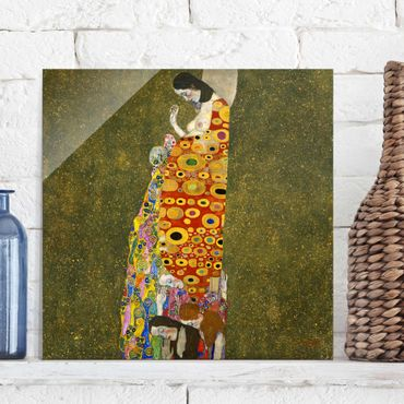 Glasbild - Kunstdruck Gustav Klimt - Die Hoffnung II - Jugendstil Quadrat 1:1
