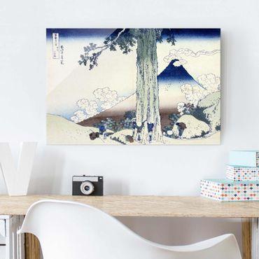 Glasbild - Kunstdruck Katsushika Hokusai - Mishima Pass in der Provinz Kai - Quer 3:2