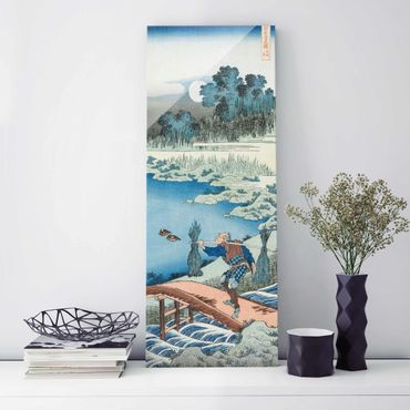 Glasbild - Kunstdruck Katsushika Hokusai - Reisträger (Tokusagari) - Panorama Hoch