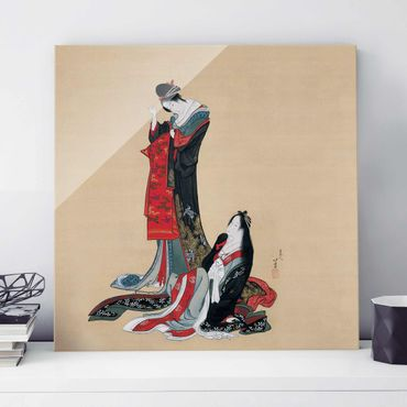 Glasbild - Kunstdruck Katsushika Hokusai - Zwei Kurtisanen - Quadrat 1:1