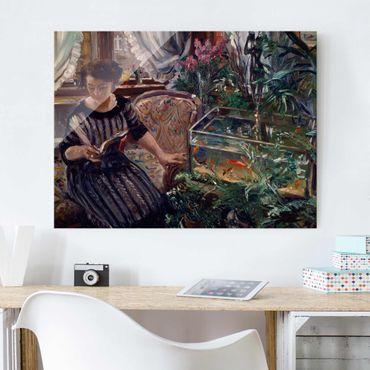Glasbild - Kunstdruck Lovis Corinth - Dame am Goldfischbassin - Quer 4:3