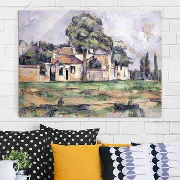 Glasbild - Kunstdruck Paul Cézanne - Am Ufer der Marne - Impressionismus Quer 4:3