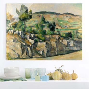 Glasbild - Kunstdruck Paul Cézanne - Hügelige Landschaft in der Provence - Impressionismus Quer 4:3