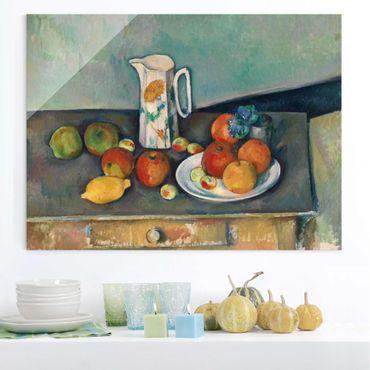 Glasbild - Kunstdruck Paul Cézanne - Stillleben mit Milchkrug und Früchten auf einem Tisch - Impressionismus Quer 4:3