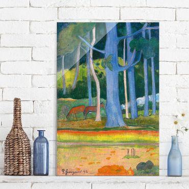 Glasbild - Kunstdruck Paul Gauguin - Landschaft mit blauen Baumstämmen - Post-Impressionismus Hoch 2:3