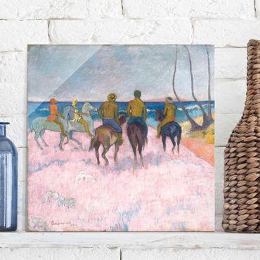 Glasbild - Kunstdruck Paul Gauguin - Reiter am Strand (I) - Post-Impressionismus Quadrat 1:1