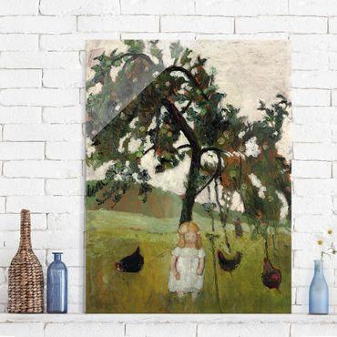Glasbild - Kunstdruck Paula Modersohn-Becker - Elsbeth mit Hühnern unter Apfelbaum - Hoch 3:4