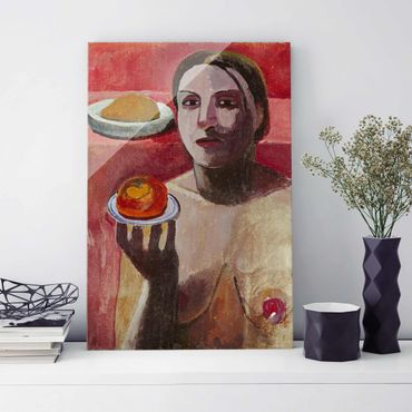 Glasbild - Kunstdruck Paula Modersohn-Becker - Halbakt einer Italienerin mit Teller - Hoch 2:3