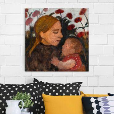 Glasbild - Kunstdruck Paula Modersohn-Becker - Junge Frau mit dem Kind - Quadrat 1:1