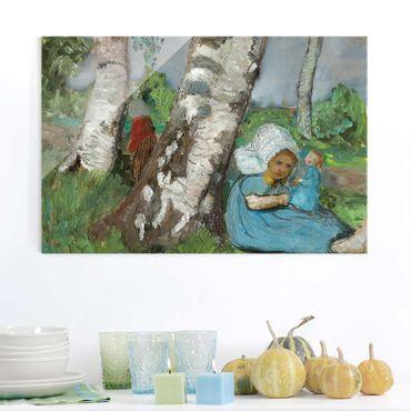 Glasbild - Kunstdruck Paula Modersohn-Becker - Kind mit Puppe am Birkenstamm sitzend - Quer 3:2