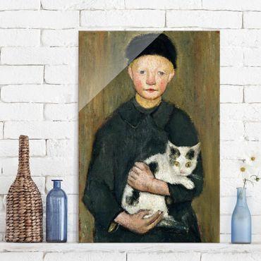 Glasbild - Kunstdruck Paula Modersohn-Becker - Knabe mit Katze - Hoch 2:3
