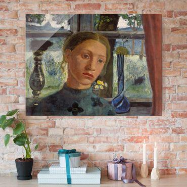 Glasbild - Kunstdruck Paula Modersohn-Becker - Mädchen mit Puppe - Hoch 3:4