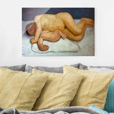 Glasbild - Kunstdruck Paula Modersohn-Becker - Ruhende Mutter mit Kind - Quer 3:2