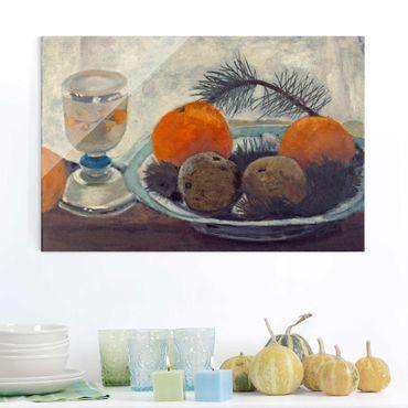 Glasbild - Kunstdruck Paula Modersohn-Becker - Stillleben mit Mattglasbecher, Äpfeln und Kiefernzweig - Quer 3:2