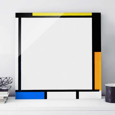Glasbild - Kunstdruck Piet Mondrian - Komposition II - Quadrat 1:1