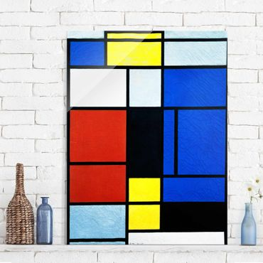 Glasbild - Kunstdruck Piet Mondrian - Tableau No. 1 - Hoch 3:4