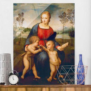 Glasbild - Kunstdruck Raffael - Die Madonna mit dem Kinde, dem Johannesknaben und dem Distelfink - Hoch 3:4