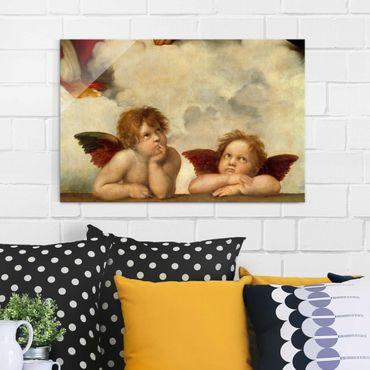 Glasbild - Kunstdruck Raffael - Zwei Engel. Detail aus Die Sixtinische Madonna - Quer 3:2