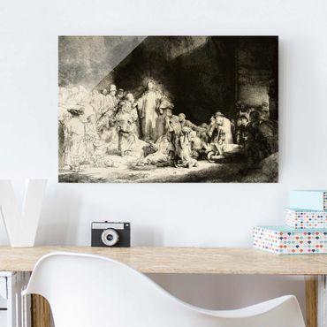 Glasbild - Kunstdruck Rembrandt van Rijn - Christus heilt die Kranken. Das Hundertguldenblatt - Quer 3:2