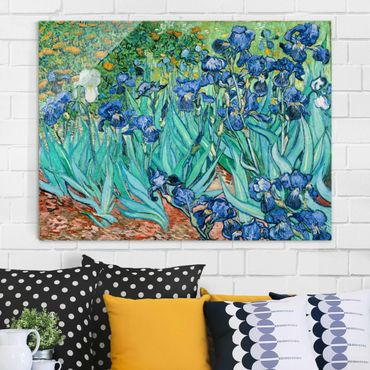Glasbild - Kunstdruck Vincent van Gogh - Iris - Post-Impressionismus Quer 4:3
