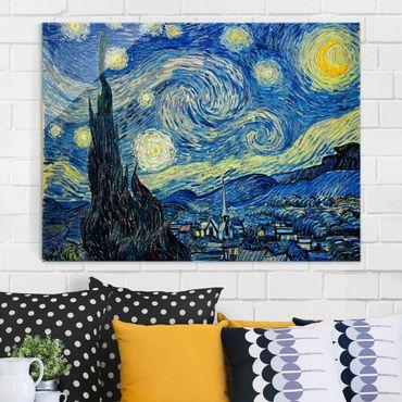 Glasbild - Kunstdruck Vincent van Gogh - Sternennacht - Post-Impressionismus Quer 4:3