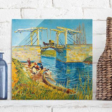 Glasbild - Kunstdruck Vincent van Gogh - Zugbrücke in Arles - Post-Impressionismus Quadrat 1:1