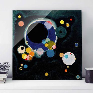 Glasbild - Kunstdruck Wassily Kandinsky - Skizze für 'Einige Kreise' - Expressionismus Quadrat 1:1