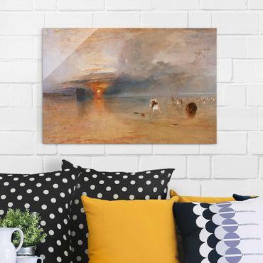 Glasbild - Kunstdruck William Turner - Strand bei Calais, Fischerfrauen sammeln Köder ein - Romantik Quer 3:2