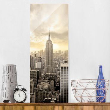 Glasbild - Manhattan Dawn - Panorama Hoch