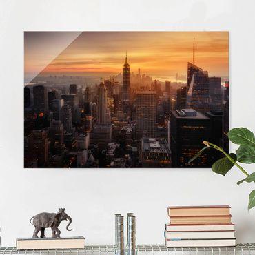 Glasbild - Manhattan Skyline Abendstimmung - Querformat 2:3
