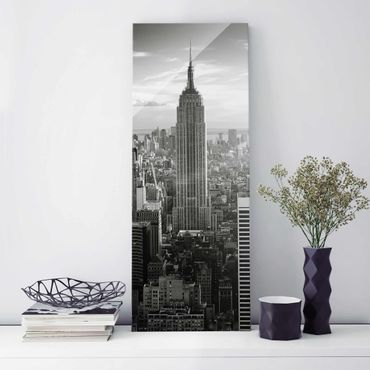 Glasbild - Manhattan Skyline - Panorama Hoch