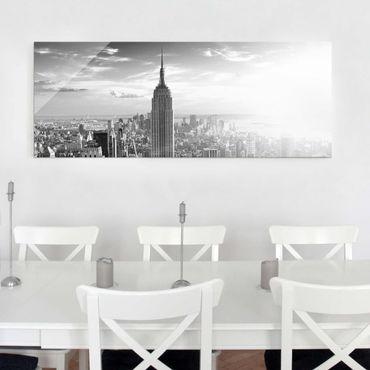 Glasbild - Manhattan Skyline - Panorama Quer