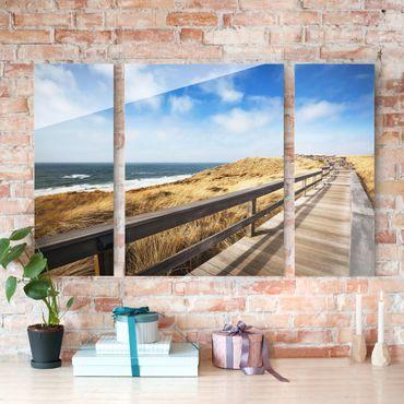 Glasbild mehrteilig - Dünenweg an der Nordsee auf Sylt 3-teilig