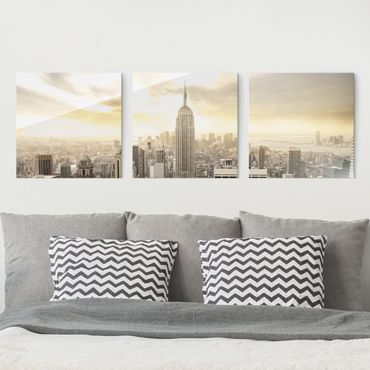 Glasbild mehrteilig - Manhattan Dawn 3-teilig