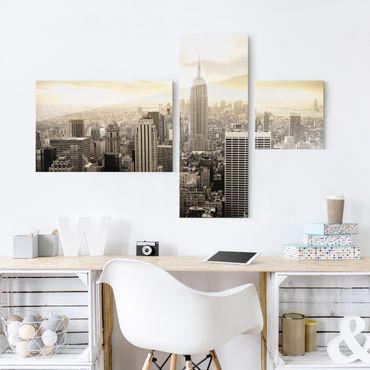 Glasbild mehrteilig - Manhattan Dawn Collage 3-teilig