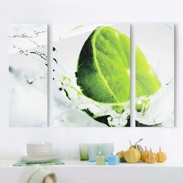 Glasbild mehrteilig - Splash Lime 3-teilig