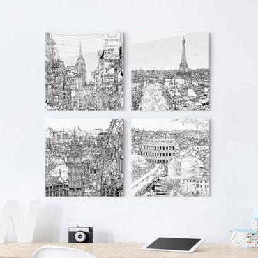 Glasbild mehrteilig - Stadtstudie Set I - 4-teilig