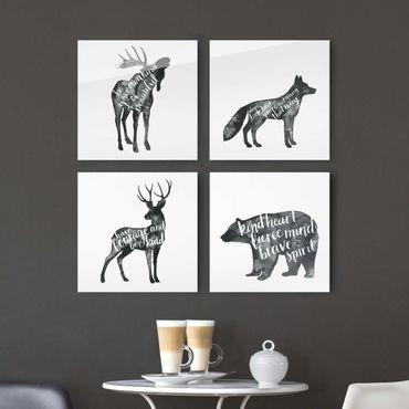 Glasbild mehrteilig - Tiere mit Weisheit Set I - 4-teilig