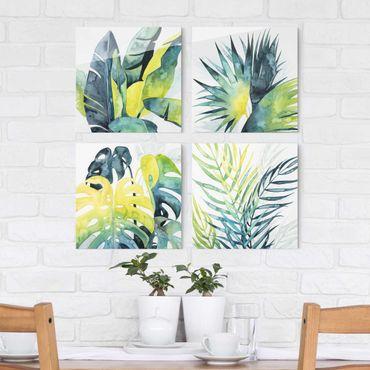 Glasbild mehrteilig - Tropisches Blattwerk Set I - 4-teilig