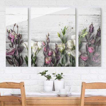 Glasbild mehrteilig - Tulpen-Rose Shabby Holzoptik 3-teilig