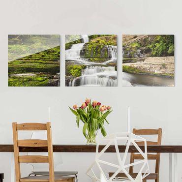 Glasbild mehrteilig - Upper McLean Falls in Neuseeland - 3-teilig