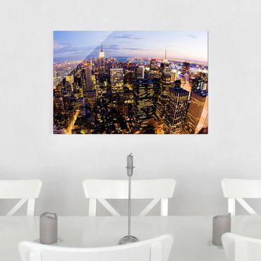 Glasbild - New York Skyline bei Nacht - Quer 3:2